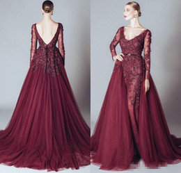 Wholesale Elie Saab Inspired Gowns - 2017 Elie Saab Burgundy Formal Celebrity Evening Dresses V Neck Long Sleeves Lace Applqiues Open Back Detachable Train Prom Occasion Gowns