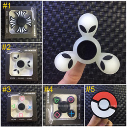 Wholesale Dry Silica Gel - Poke Ball Alien noctilucent Hand Spinners Fidget Spinner Top Silica gel Finger Spinning Colorful Decompression Toys B