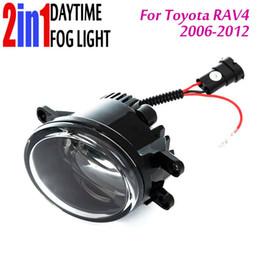 Wholesale Lights For Toyota Rav4 - Led Fog Light with DRL Daytime Running Light with Lens Fog Lamps Car Styling Led Lamps Refit Original Fog for Toyota Rav4