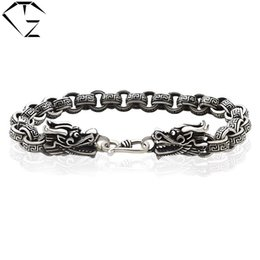 Wholesale Sterling Dragon Ring - GZ 925 Sterling Silver Bracelet Men Jewelry thickness 7mm 17-25cm Dragon Head Link Chain 100% Real S925 Thai Silver Bracelets