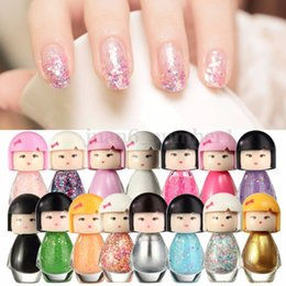 Wholesale Cute Nail Polish Colors - Wholesale- 46 colors New Fashion Cute Baby Doll Design Acrylic Neon Nail Art Polish Bright Glitter Pure Color Nail Decoration