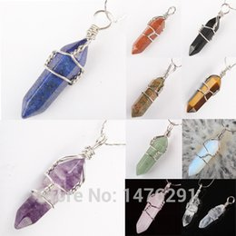 Wholesale Faceted Amethyst Beads - Wholesale- Mix Crystal Stone Amethyst Opal Lapis Turquoise Agate Rose Quartz Carnelian Faceted Bead Twining Pendant 1PCS Free shipping