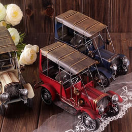 Wholesale Cast Toy Car - Zakka Vintage Home Decor Retro Cars Cast Iron Toy Car-styling Ford Antique Car Models For Decoration Tin Car Toys Shabby Chic
