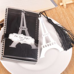 Wholesale Bookmark Tower - Metal Bookmarks sliver gift Tassels Stainless Steel Eiffel Tower Bookmarks stationary bookmark Wedding Favors nice gift Bookmark for Books