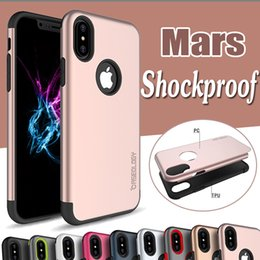 Wholesale Apple Rugged Protection - For iPhone X Mars Armor Case Hybrid TPU+PC Layer Ultra Thin Slim Rugged Shockproof Anti-Drop Protection Hard Cover For iPhone 8 7 Plus 6 6S
