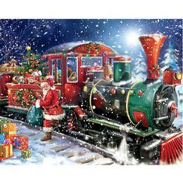 Wholesale Diy Diamonds Decoration - DIY Diamond Painting Santa Claus Christmas Decorations Cross Stitch Kit Off Train Christmas Gifts Full Drill Diamond Paintings