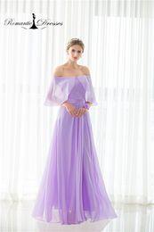 Wholesale Cheap Women Flare Dress - Chiffon Flare Shoulder Bridesmaid Dresses Purple A line Off The Shoulder Cheap Women Romantic Dresses 100% Real Photos Party Gowns Instock