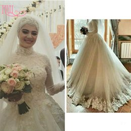 Wholesale Women Church Dresses - Modest Muslim Plus Size Wedding Dresses With High Neck Long Sleeves Lace Appliques Ruched Tulle Elegant Islamic Women Church Wedding Gowns