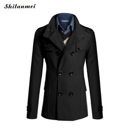 Wholesale Trenchcoat Male - Wholesale- trench coat men British Slim double breasted Acrylic mens long trench coat turn-down collar trenchcoat long sleeve jacket male
