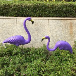 Wholesale Religious Pictures - Fashion Flamingo Decoration Courtyard Purple Plastic Flamingos Ornament Outdoor Take Picture Props Wedding Giveaways Wear Resistant 38my C R