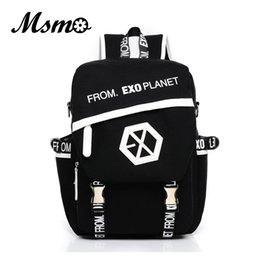 Wholesale Kpop Bags - Wholesale- MSMO 2017 New Kpop EXO Canvas Backpack Sacks Women Men Student School Bags For Girl boy Casual Travel EXO bags