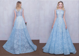 Wholesale Elegant Sweetheart Flowers Beaded Lace - High-End Custom 2017 New Evening Sleeves Real Picture Sexy Lace Dress Light Blue Small Round Neck Flower Trailing Long Dresses Elegant gowns