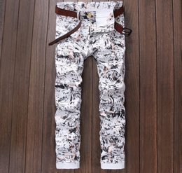 Wholesale Luxury Men Slim Straight Trousers - Wholesale-europen American fashion brand Men's casual jeans Straight luxury Print slim trousers cotton Painted sexy white jeans for men