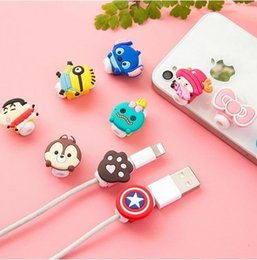 Wholesale Cartoon Winder - Cable Winder Lovely Cute Cartoon Cord Saver Cover For iPhone 8 Pin USB Charging Cable Protective Protector Saver