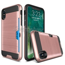 Wholesale Iphone Cell Phone Accessories Wholesale - Wire Drawing Case For Samsung Galaxy Note8 S7 Cases for iphone X 8 7 plus Back Cover Card Pocket for Cell phone accessories