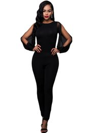 Wholesale Jumpsuits Longo - Wholesale- Twins Girl 2017 Autumn New Womens Rompers Overalls Sheer Split Long Sleeve Open Back Jumpsuit LC64141 macacao feminino longo