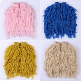Wholesale Spring Jackets Baby Girl - Everweekend Kids Tassels Knitted Cardigans Sweater Jackets Candy Color Spring Fall Cute Baby Jacket Outwears