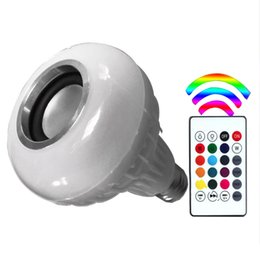 Wholesale Led Colored Lamps - E27 LED RGB Bluetooth Speaker Bulb Wireless 12W Power Music Playing Light Lamp with 24 Keys Remote Control