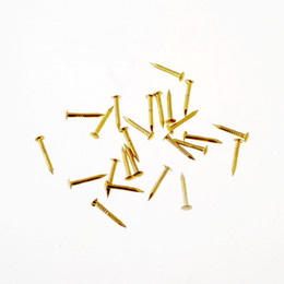 Wholesale Band Drum - Wholesale- Free Shipping 100pcs Golden drum nail Fit Hinges Flat Round Head Phillips Cusp Fasteners Hardware 13x3.5mm F1545