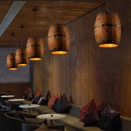 Wholesale Wood Light Fixture Ceiling - American country loft wood Wine barrel hanging Fixture ceiling pendant lamp E27 light for bar cafe living dining room restaurant
