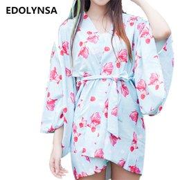 Wholesale Vintage Wedding Kimono - Wholesale- New Arrivals Print Robes Vintage Kimono Robe Casual Bathrobe Fashion Sleepwear Robe Peignoir Bridesmaid Robes Wedding Robes#H155