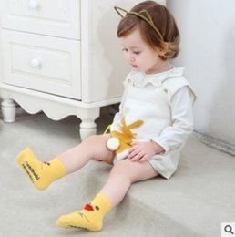 Wholesale Cute Penguin Cartoons - Newborn kids cotton socks baby stereo cartoon animal short socks fashion toddler girls boys cute chicken penguin non-slip socks R1070