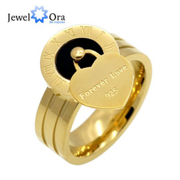 Wholesale forever anniversary ring - Forever Love Rome Numerals Peach Heart Ring 316L Stainless Steel Rings For Women Gold Plated Jewelry ( RI102416) 17401