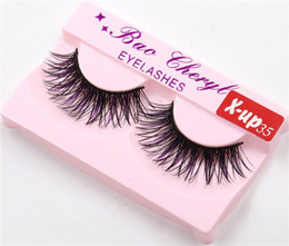 Wholesale Colorful Nature - x-up35 1Pair Women Makeup Beauty Thick 3D False Eyelashes popular messy nature Eye Lashes Long Black Handmade lashes Extension