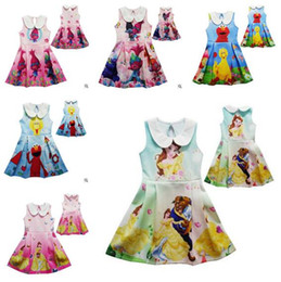 Wholesale Girls Beauty Gifts - Trolls Elmo Girls Dress Kids Clothing Beauty And Beast Princess Belle Dress Summer 2017 Cosplay Costume Cartoon Children Clothing Best Gifts