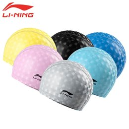 Wholesale Ear Hats For Women - Wholesale- LI-NING Waterproof Swimming Caps for Men Swim Hat for Women Long Hair Swimming Pool Hat Ear Protection Bathing Cap Pink LSJL868