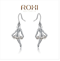 Wholesale Rhinestone Dance Earrings - 2017 ROXI Dancing Girl Earrings Genuine Austrian Crystals Hand Made Fashion Jewelry Angel Gold Plated Earring For Women