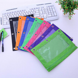 Wholesale Desktop Cases - Hot sell Zippered Binder Pencil Pouch 3 Ring Rivet Enforced Hole School Pen Case Desktop Storage Bag