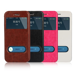 Wholesale Iphone 5s Flip Window - For iPhone 5S 6 6S 7 plus Flip Leather TPU soft Case Stand for Mobile Phone Dual Window View PU protection Cover