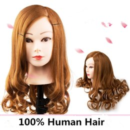 Wholesale Training Mannequin Heads Human Hair - Cheap 100% Natural Human Hair Training Mannequin Head Cosmetology Hairdressing Mannequin heads Makeup with Long Hair