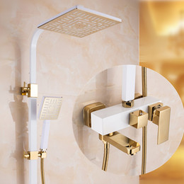 Wholesale Antique Brass Shower Faucet Included Hand shower Rainfall Brass Painting Mixer taps Two handles and three holes Hot and Cold Faucets