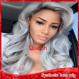 Wholesale Wig Gray Long - Fashion Side Part Gray Deep Wavy Long Wigs Heat Resistant Glueless Lace Front Synthetic Wigs with Baby Hair Africa American Wig