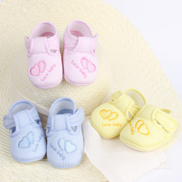 Wholesale Toddlers Yellow Shoes - Baby First Walker Baby Children's Toddler Shoes Antiskid Non-slip Cotton Shoes with Blue Red Yellow Color Free Sihpping