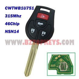 Wholesale Remote Control Cm - 10pcs DHL Free shipping N0050 remote car key NSN14 Key 3button with panic 315Mhz 46Chip for Nissan CWTWB1U751 auto key control