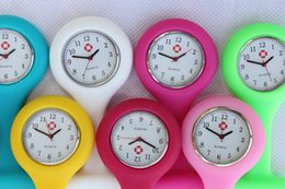 Wholesale pocket watch nurse - 100pcs Promotion Christmas Gifts Colorful Nurse Brooch Fob Tunic Pocket Watch Silicone Cover Nurse Watches DHL Free Shipping