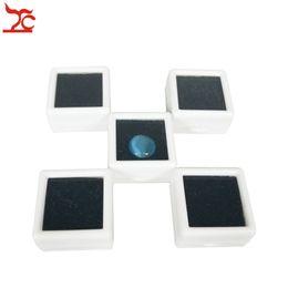 Wholesale Glass Ring Display Case - 50Pcs Plastic Loose Diamond Display Package Box Square White Gem Case Black Memory Foam Pad Beads Pendant Box Showcase 3*3*2cm
