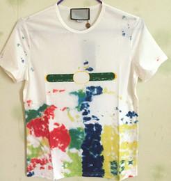 Wholesale Short Ties - 2017 New Summer Cotton tshirt fashion designer brand tag 3D Short Sleeve eagle Tie-dyed print Men T-shirt tee tops