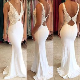 Wholesale Lace Plunge Top - Sexy Plunging V Neck White Mermaid Prom Dresses 2017 Lace Top Backless Long Evening Dresses Cheap Formal Party Wear