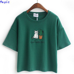 Wholesale Hot Shorts For Women - Wholesale-[Magic] Embroidery Cat Cactus casual t shirt for Women cotton t-shirt short loose style tops hot tee 4color JA22 free shipping