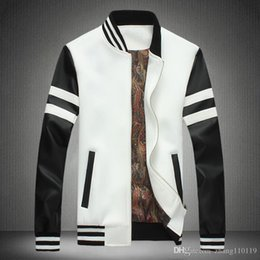 Wholesale Hoodies Leather Men - 2016 European Style Mens Hip Hop hoodies and Coats Black Motorcycle Leather Baseball hoody Men outwear Homme Marque