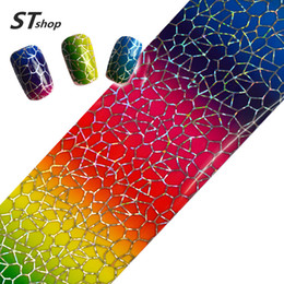 Wholesale Glitter Nail Wraps - Wholesale- 100cmx4cm Glitter Laser Nail Foil Sticker Polish Glue Transfer Adhesive Decal DIY Beauty Wraps Nail Decorations Supplies STZXK22