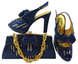 Wholesale Ladies Wedding Slipper Shoes - Wonderful MM1038 D.blue Style African High Heel Shoes And Bag Set Hottest Stone European Ladies Slipper And Bags Sets For Wedding