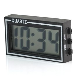 Wholesale Mini Desk Alarm Clock - Wholesale-Mini Auto Car Truck Dashboard Digital LCD Display Clock Date Time Calendar Desk Table Clock with Double-sided Tape Black