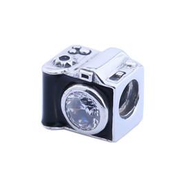 2019 кристаллические камеры Сентиментальные снимки бусины с черной эмалью Кристалл новая камера бусины стерлингового серебра 925 Fit Pandora браслеты DIY изготовление HB454 скидка кристаллические камеры