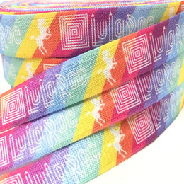 "Wholesale printed webbing wholesale - New Arrived 5 8"" 50 yards LuLaRoe Unicorn Print Fold Over Elastic Hot Sale Rainbow FOE Ribbon Webbing for DIY Head wear Hair Accessories"