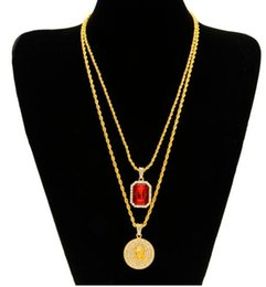 Wholesale Gold Jewerly Sets - 2017 jewerly set Micro Ruby Red & Jesus Face Pendant Chain Necklace Set for Men High Quality Zinc Alloy Iced Out Hip Hop Jewelry men pandent